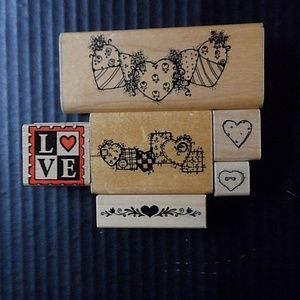 Rubber Stamps Lot of 6 Love Hearts & Borders